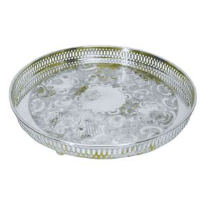 Celia Engraved Round Silver Serving Tray