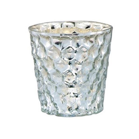Silver Honeycomb Mercury Glass Votive Cups