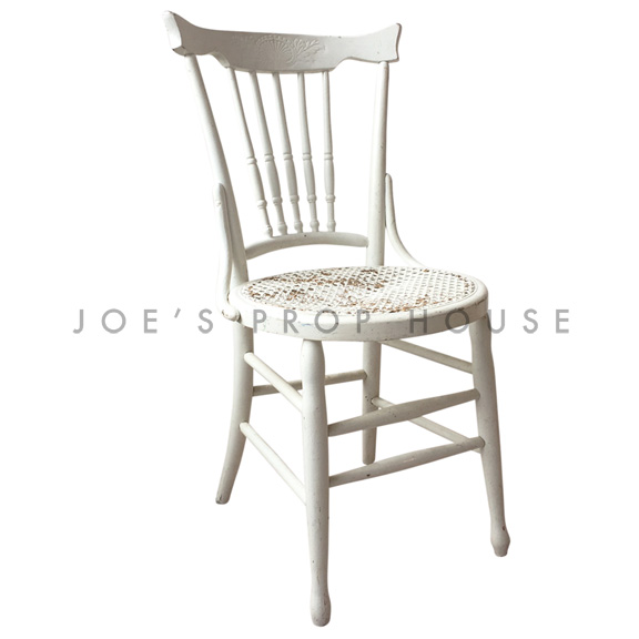 Brittany CANE Wooden Chair White
