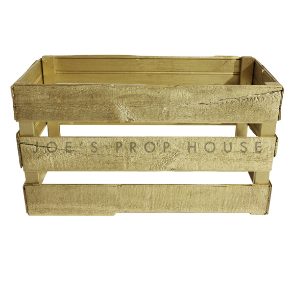 Rectangular Wooden Crate ( Open Bottom ) Gold