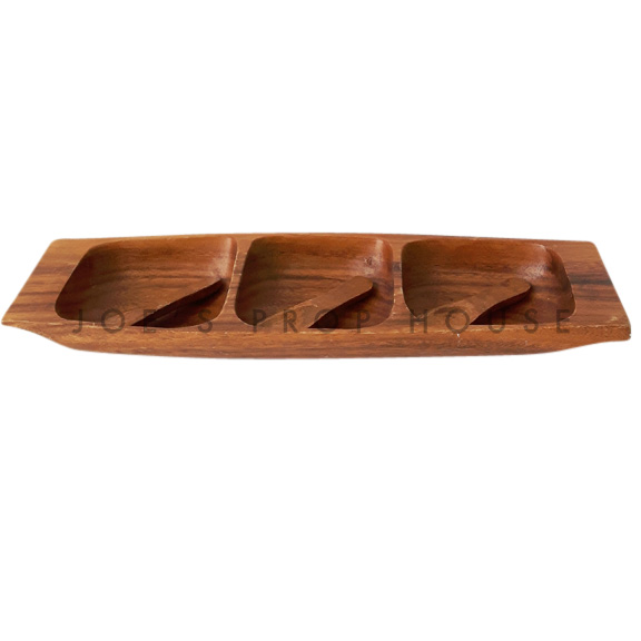 Nellie Acadia Wood 3 Compartment Serving Tray w/Spoons