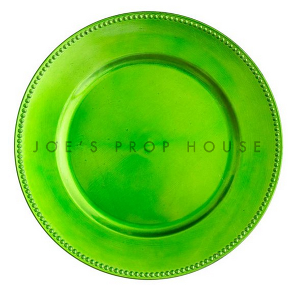 Lime Green Beaded Acrylic Charger Plate D13in