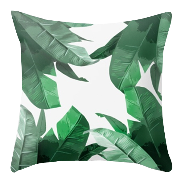 Banana Leaves Square Accent Pillow Green