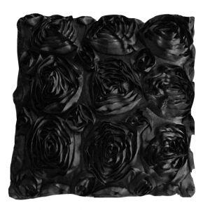 Black Satin Rosette Pillow