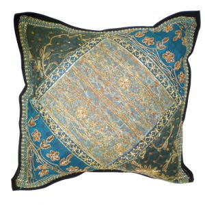 Fatima Embroidered Pillow Turquoise