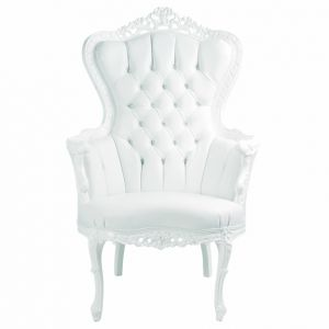 White Baroque Tufted King Armchair