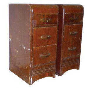 Set of 2 Vintage Wood Filing Cabinets