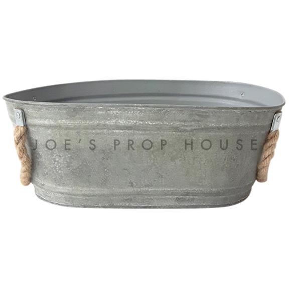 Oval Galvanized Bucket w/Rope Handles