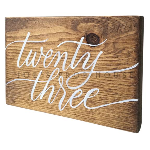Wooden Table Number Block TWENTY THREE W7in x H5in