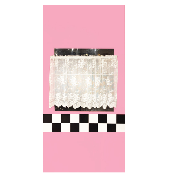 Pink Self-Standing Window Wall w/Lace Curtain W4ft x H8ft