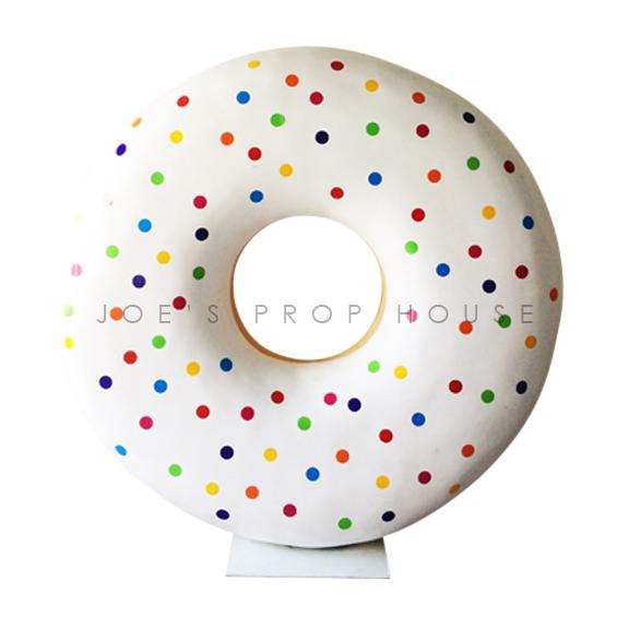 Giant Self-Standing Rainbow Polka Dot Donut D72in