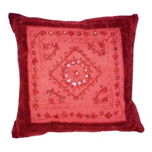 Patchwork Embroidered Velvet Accent Pillow Red
