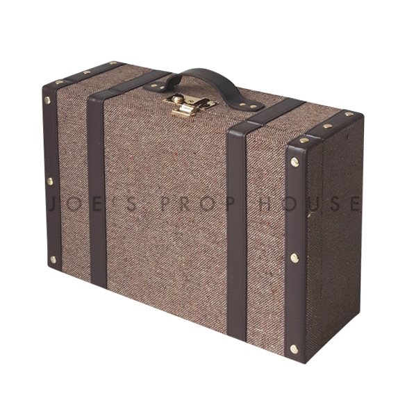 Tweed Hardshell Suitcase Dark Brown SMALL