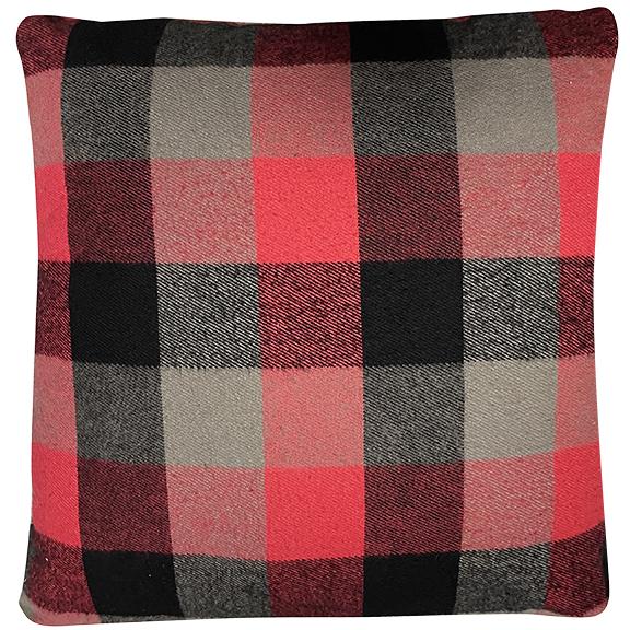 Red Grey Black Buffalo Plaid Pillow
