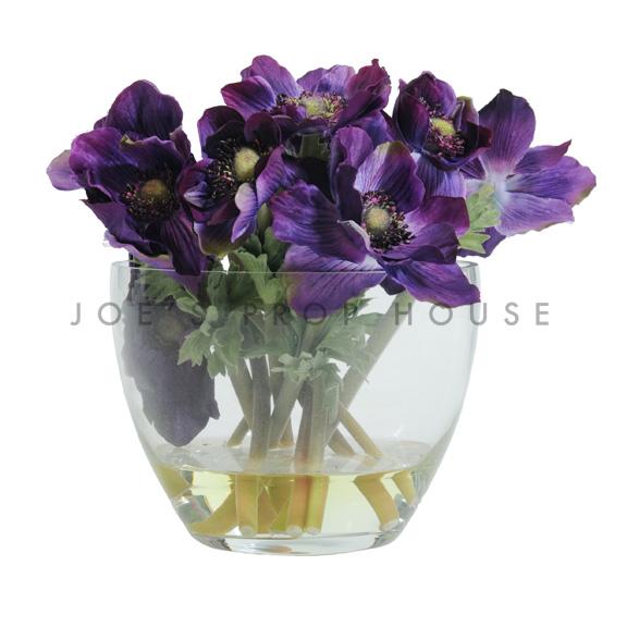 Artificial Potted Anemone Floral Arrangement Purple