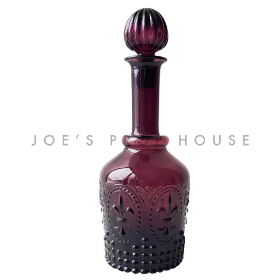 Fleur de Lys Glass Decanter Purple