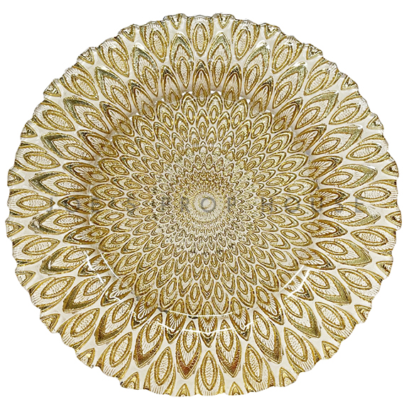 Gold Peacock Glass Charger Plate D13in