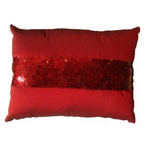 Rectangular Sequins Stripe Red Pillow