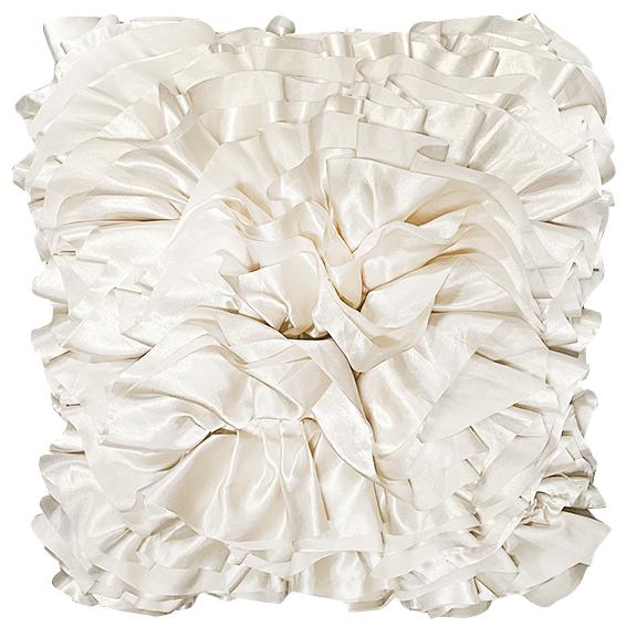 Ivory Satin Ruffle Pillow