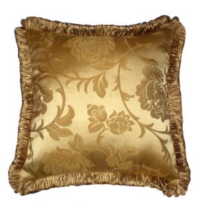 Square Gold Damask Pillow
