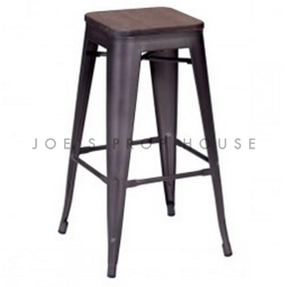 Industria Gunmetal Bar Stool w/Wood Seat