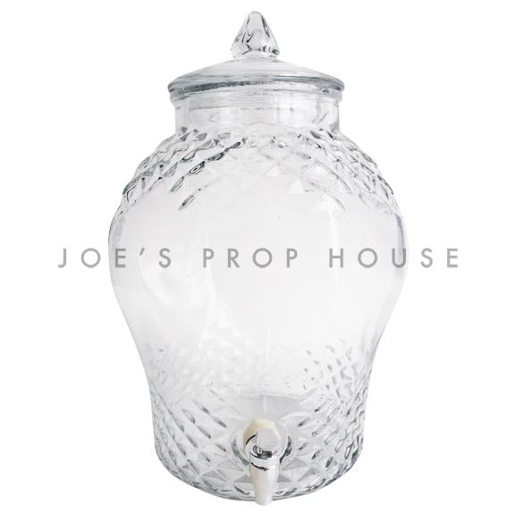 Lovett Cut Clear Glass Beverage Dispenser w/Clear Glass Lid-10 liters