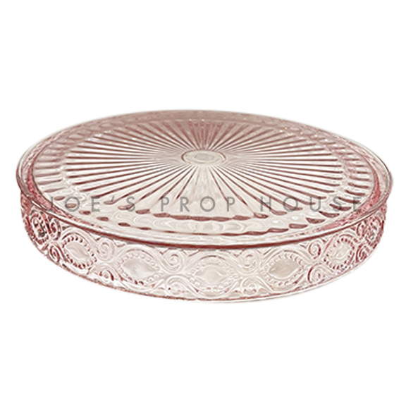 Mia Round Glass Platter PINK D9.75in