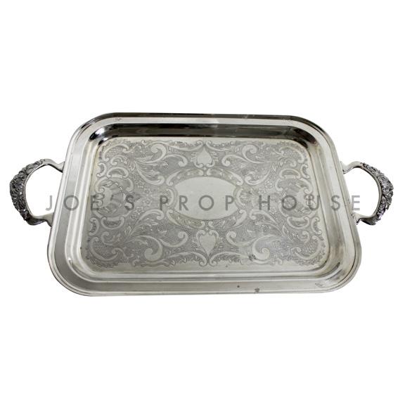 Viktor Engraved Rectangular Silver Serving Tray