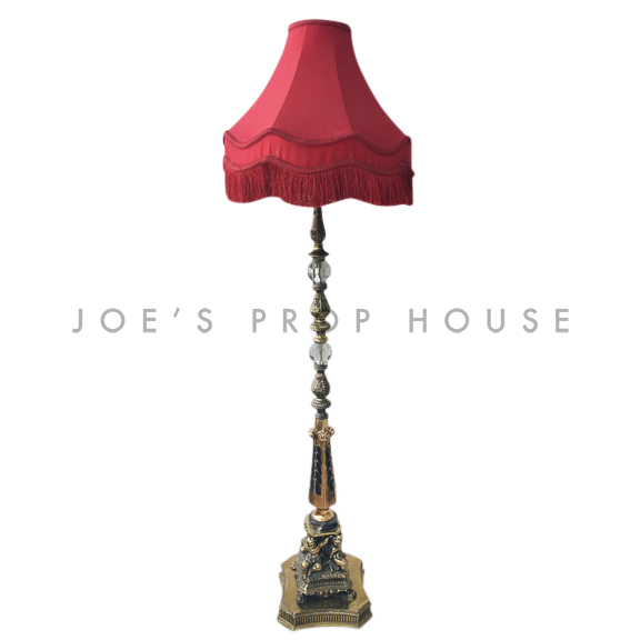 Abbey Brass Floor Lamp w/RED CORSET Lampshade