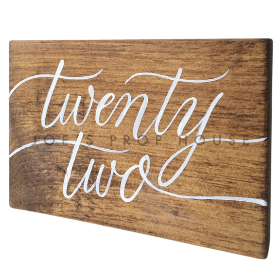 Wooden Table Number Block TWENTY TWO W7in x H5in
