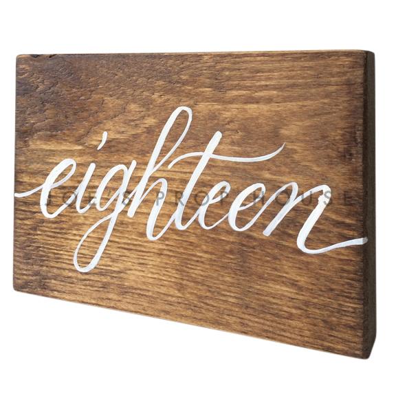 Wooden Table Number Block EIGHTEEN W7in x H5in