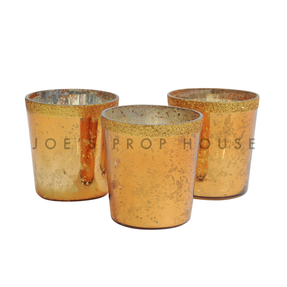 BUY ME / USED ITEM $1.99 each Mercury Glass Votive Cups Gold