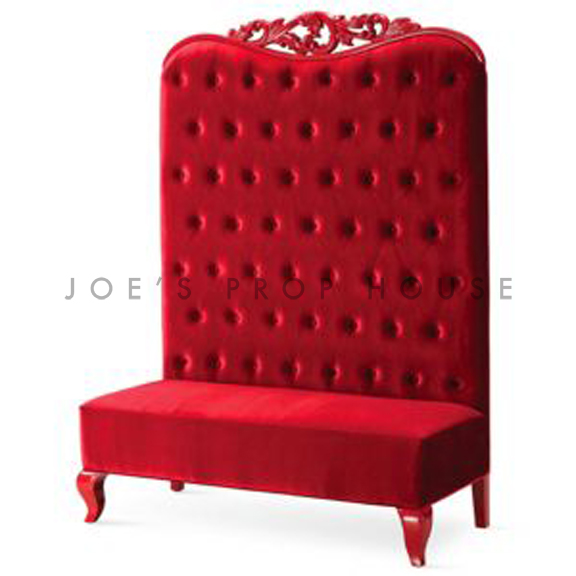 Scarlett Tufted Velour Banquette Red W51in x D24in x H72in