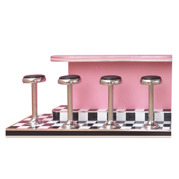 Diner Bar w/Checkered Floor and Stools LEFT SIDE L8ft