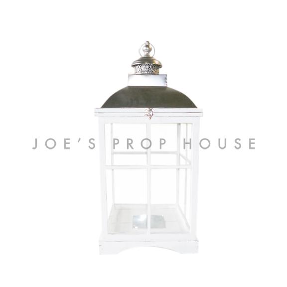 Square Wood Cottage Lantern White Medium H23in