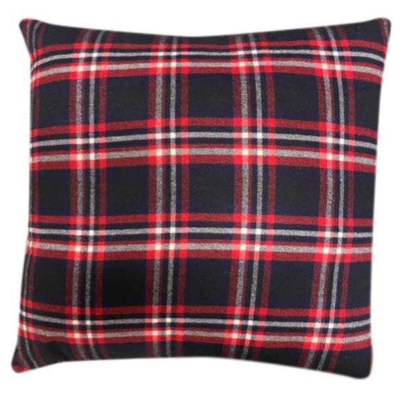 Blue and Red Plaid Accent Pillow