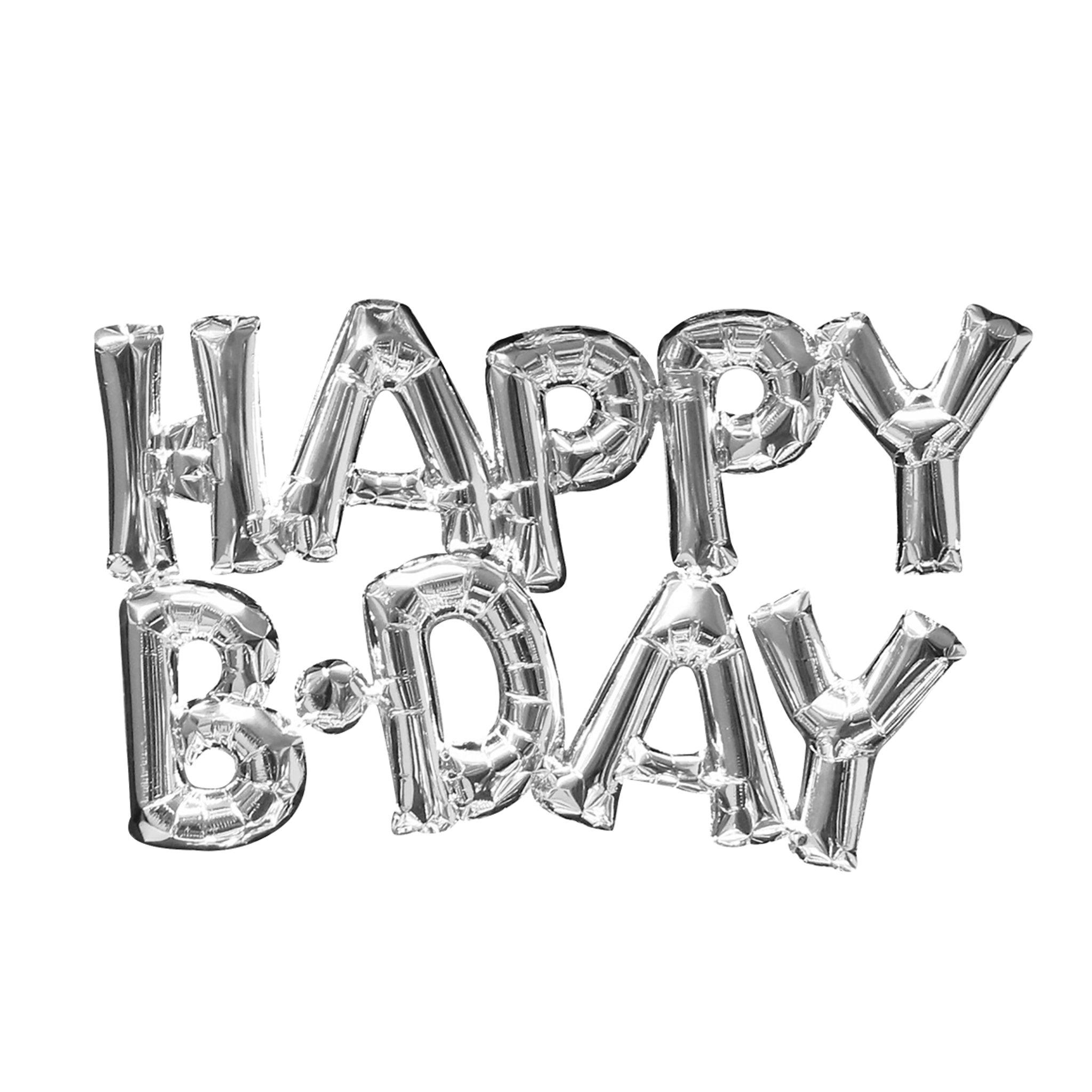 BUY ME / NEW ITEM $9.99 each HAPPY B•DAY Silver Foil Balloon 30in x 19in