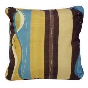 Brown/ Beige/ Blue Striped Pillow