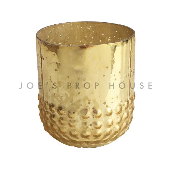 Hobnail Mercury Glass Gold Votive Cups