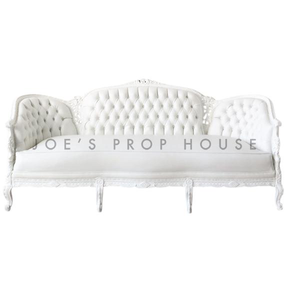 Antoinette White Vinyl Tufted Three Seat Sofa  W82in x D22in x H36in