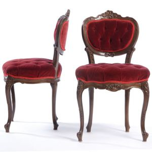 Coquette Velour Tufted Chair Red