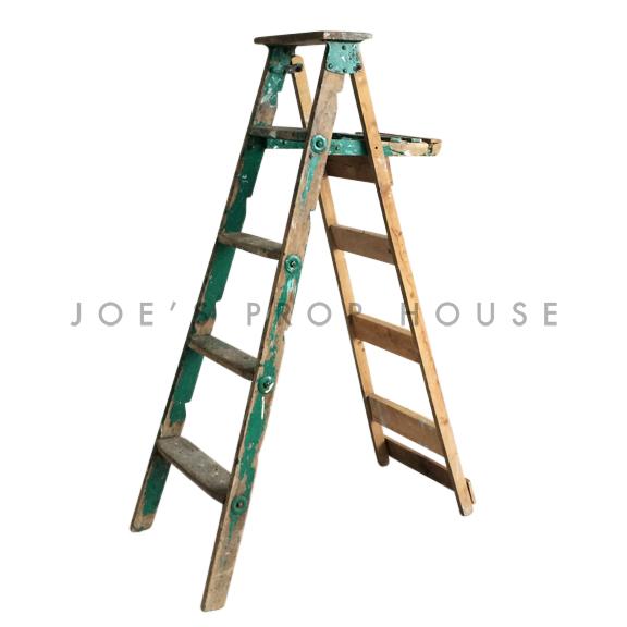 Vintage Distressed Wooden Ladder Green