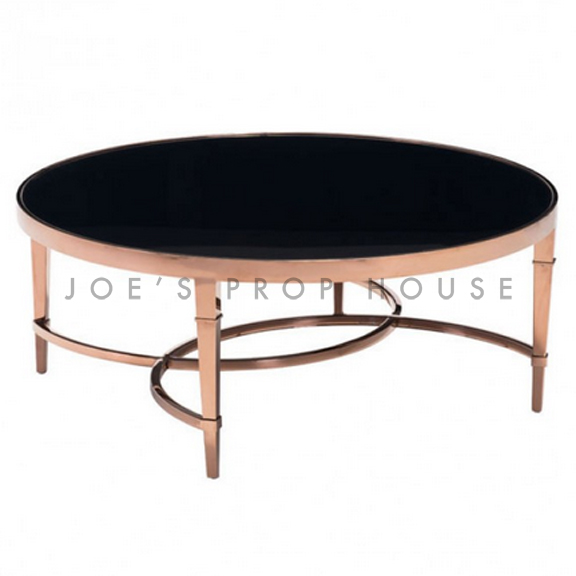 Rose Gold Round Coffee Table Black Glasstop