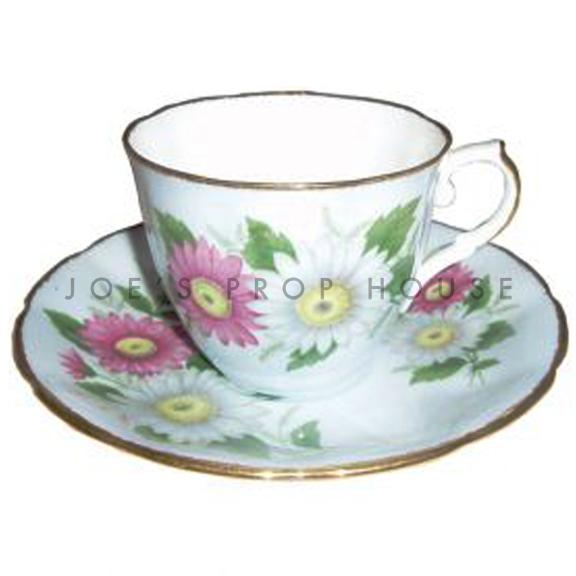 Daisy Floral Teacup and Saucer