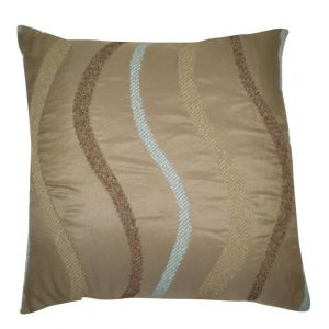 Square Taupe Pillow w/ swirl design