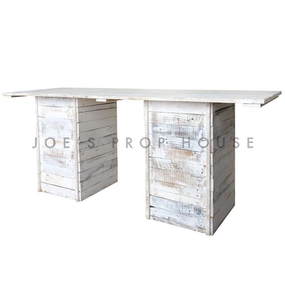 Whitewash Palette Console Table w/WHITEWASH plank L8ft