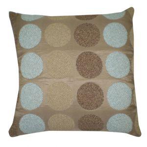 Square Taupe Pillow w/ circles design