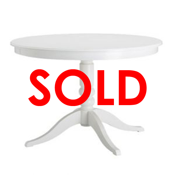 BUY ME / USED ITEM $295.00 each Bolster Round Pedestal Dining Table White D43in x H30in