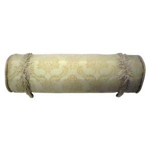 Cream Damask Bolster Pillow w/ fringe