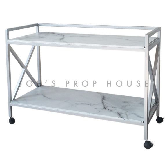 Silver Roliing Bar Cart w/Faux Marble